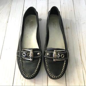 Franco Sarto Black L- Kush Buckle Loafers Sz 9.5M